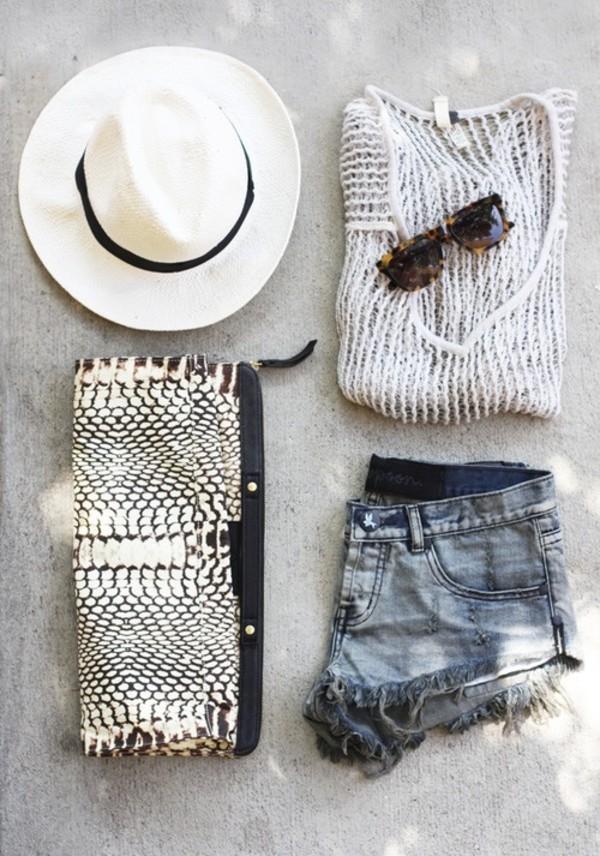 shorts cut off shorts clutch hat white fedora shirt bag