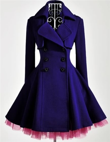 Elegant Gothic Double Breasted Gauze Trimming Purple Coat