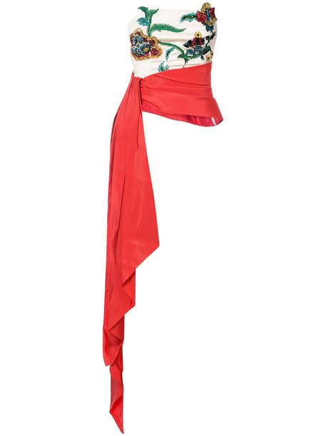 top women embellished white silk