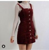 dress,burgundy,button up