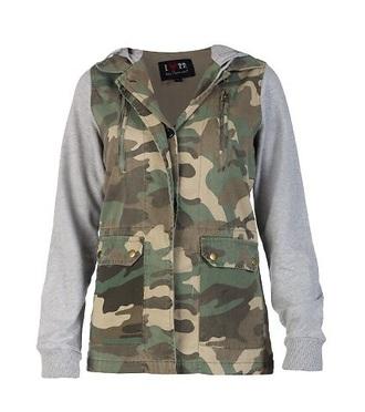 coat camo jacket gray sleeves jacket camouflage