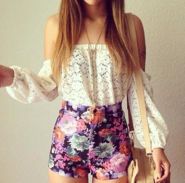 shorts blouse shirt white lace top flowered shorts cute and sexy top High waisted shorts floral bell sleeves