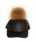 Black leather fur pom cap