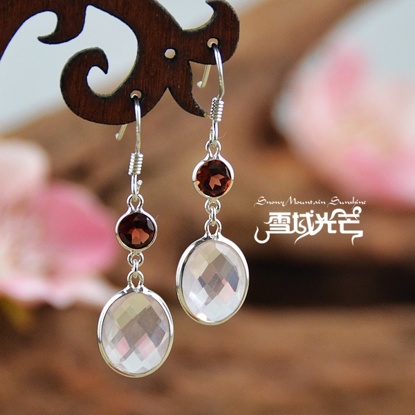 925 Sterling Silver Garnet And Natural Pink Crystal Earrings - Wishbop.com