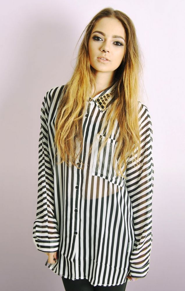 Stripe chiffon shirt with embellished collar