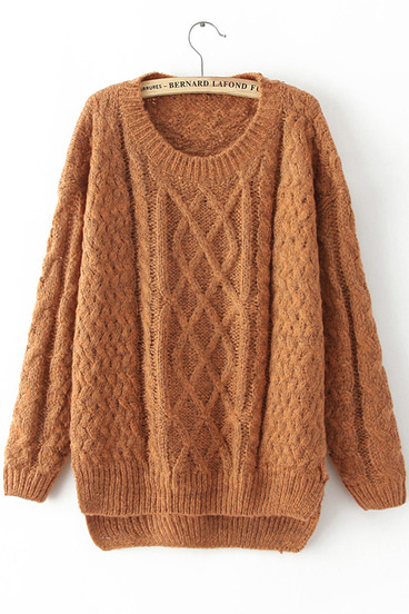 Yellow Long Sleeve Cable Knit Loose Sweater - Sheinside.com