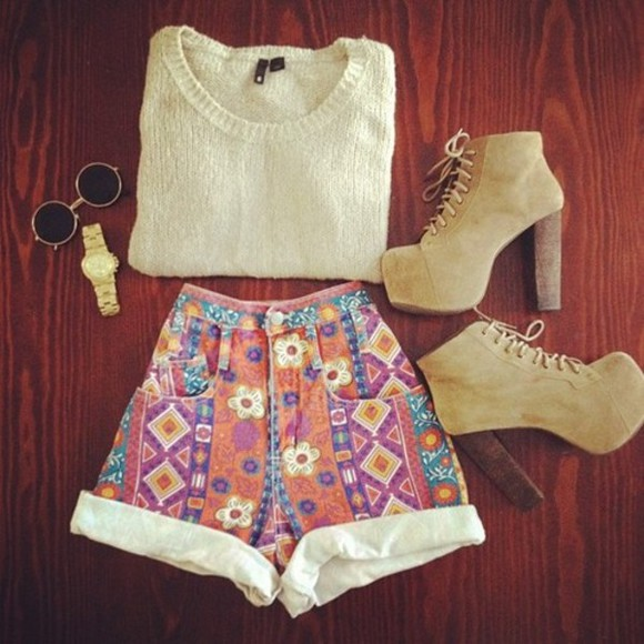 colorful taupe jewels high waisted short aztec knit sweater watch gold high heels sunglasses round sunglasses shorts clothes high waisted shorts shoes printed pattern daisy girly girl tribal highwaisted shorts high heels