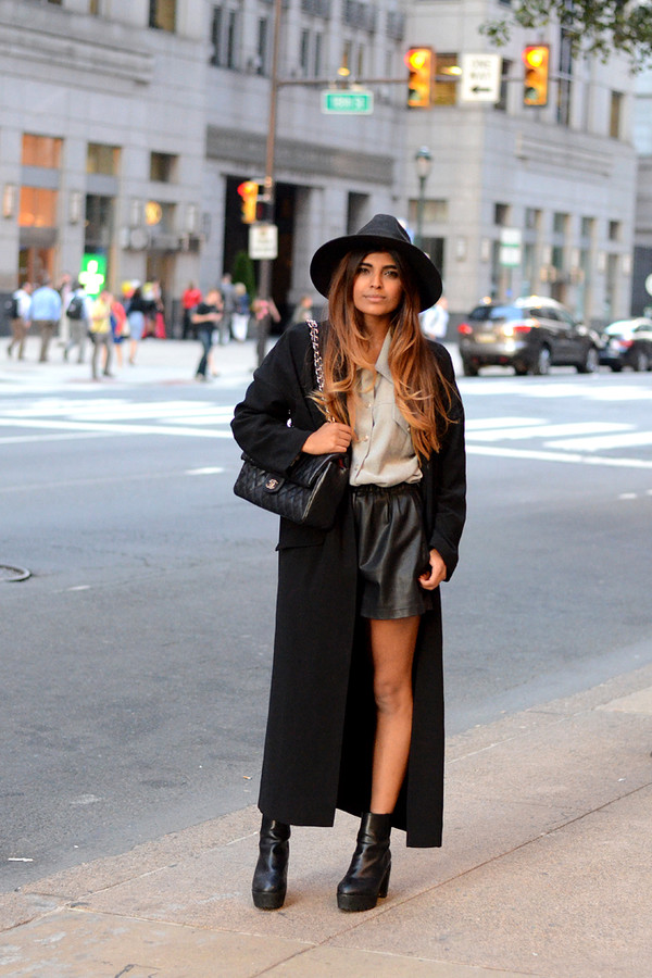 she wears fashion blogger leather shorts shirt coat long coat ankle boots felt hat hat