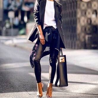shoes bag coat black pants
