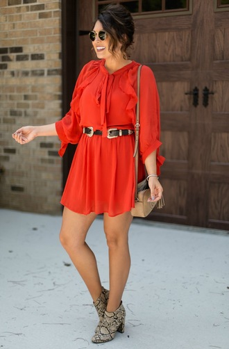 life & messy hair blogger dress bag shoes belt sunglasses red dress mini dress gucci bag shoulder bag ankle boots