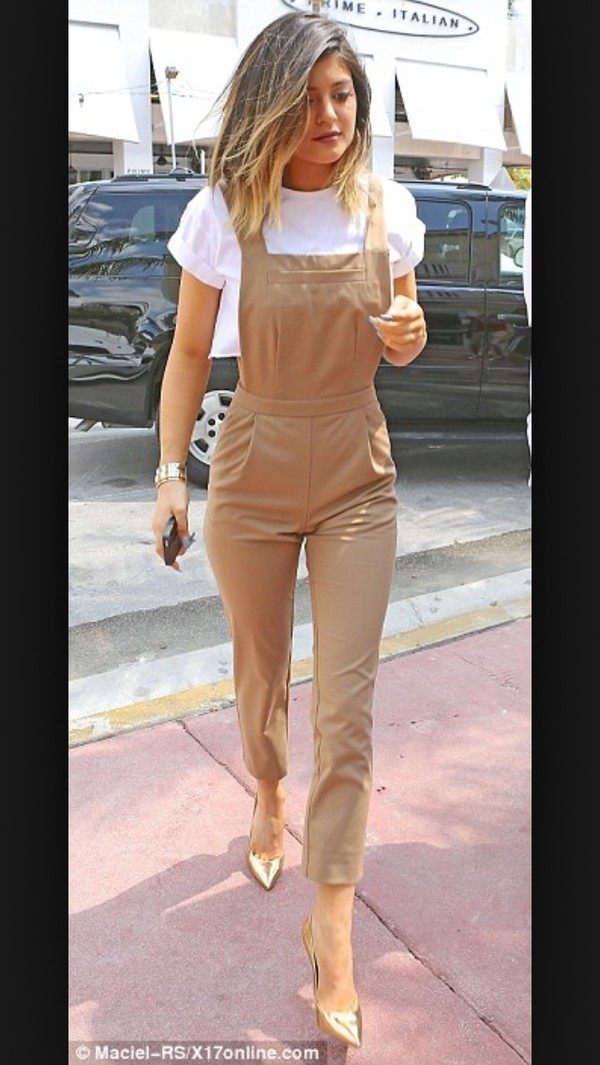pants kylie jenner dungarees jumpsuit dark khaki capri clothes kylie jenner kardashians fashion hipster crop tops white shirt nude romper