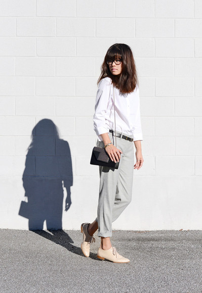 clutch bag blogger behind seams blouse work outfit tailoring