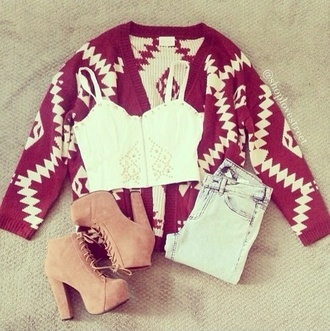 blouse tank top shoes jeans sweater jacket red and white cardigan tribal cardigan