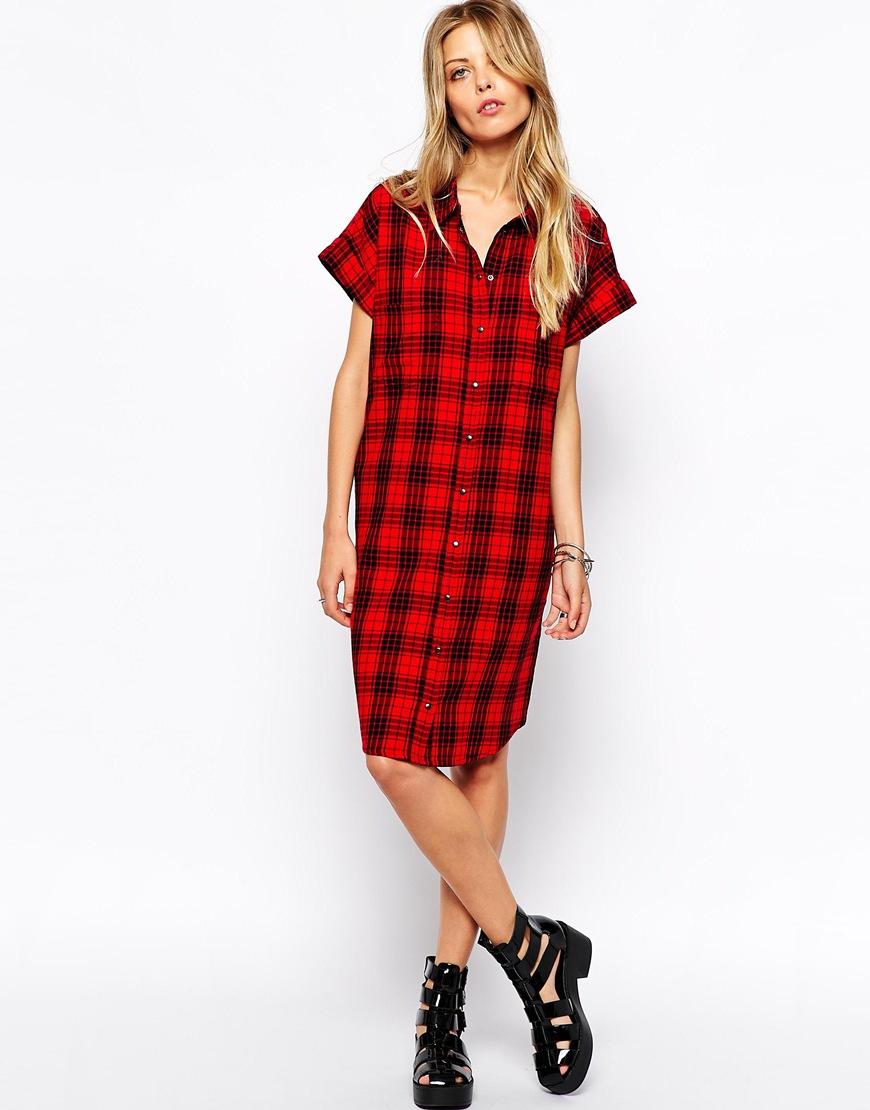 Noisy May Checked Shirt Dress at asos.com
