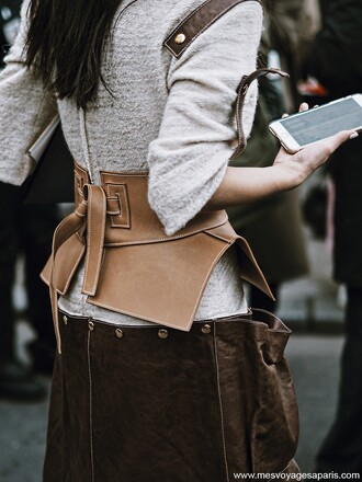 belt tumblr corset belt sweater grey sweater skirt brown skirt leather skirt streetstyle