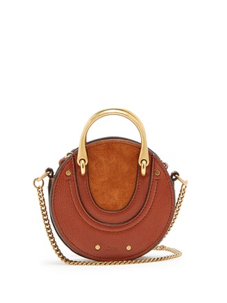 cross mini bag leather suede tan
