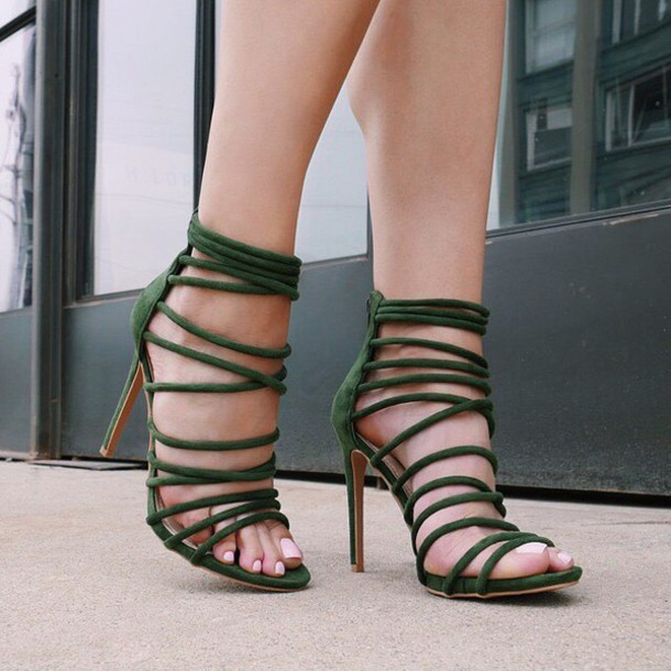 Shoes: olive green, strappy, suede heels, strappy heels, outfit ...
