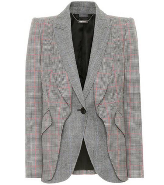 Alexander Mcqueen blazer wool houndstooth grey jacket
