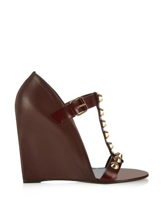classic sandals wedge sandals leather burgundy shoes