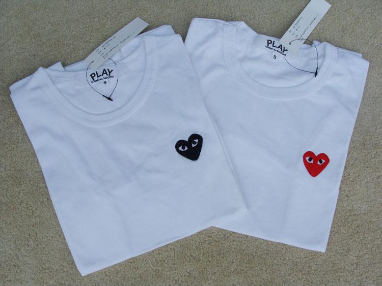 navy blue color big heart couple shirt cdg play comme des garcons women  play t shirt ... 4571a6bd0c