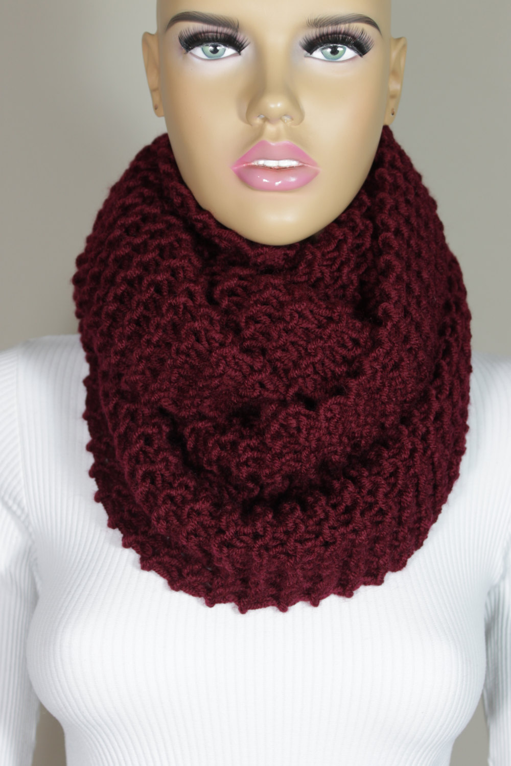 hand knitted burgundy wine infinity scarf christmas gift neck warmer escherpe