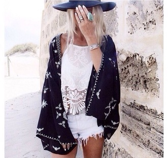 cardigan kimono boho blouse hat top black and white lace top hippie indie gypsy pale girly black kimono long