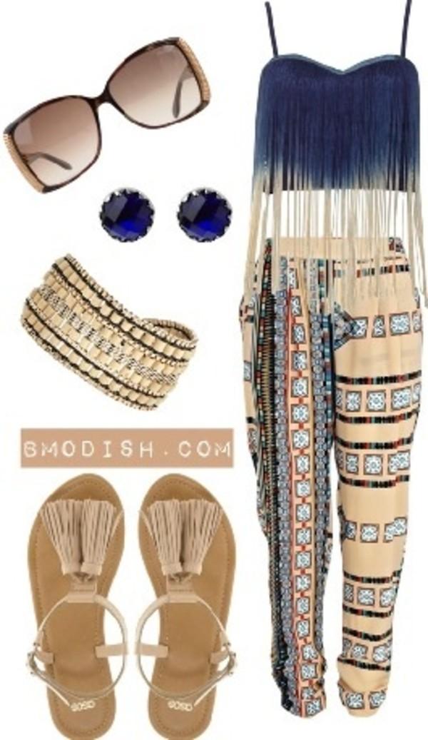 sunglasses peng frilly crop tops pants blue bracelets cute sandals shirt pants shoes jewels jeans outfit