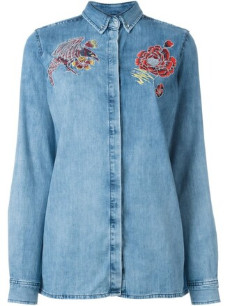 shirt denim shirt denim embroidered blue top