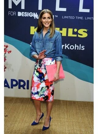 skirt spring outfits pencil skirt olivia palermo pumps shirt purse floral midi skirt shoes