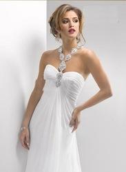 2012 sweetheart halter witte chiffon strand trouwjurken sieraden blush trein bruidsjurk