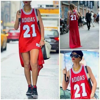 dress adidas red white red dress tank top rihanna style gorgeous bae