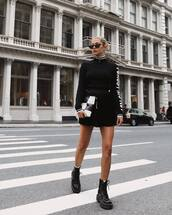 shoes,boots,platform boots,mini skirt,turtleneck,retro sunglasses,clutch