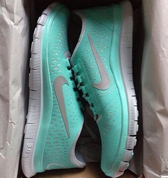shoes nike nike free run light blue tiffany blue nikes