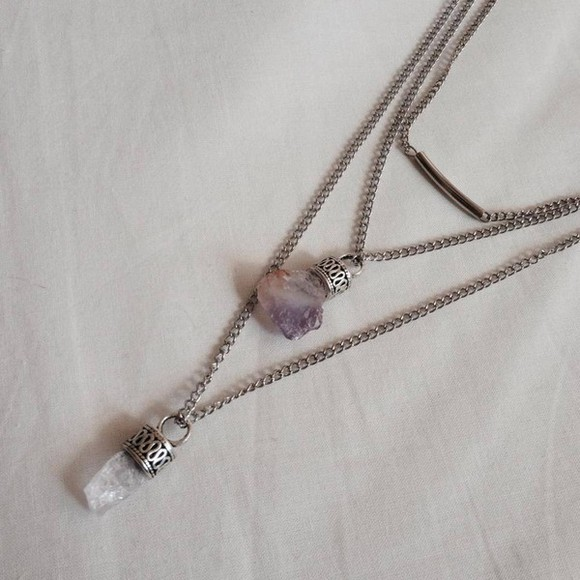 necklace jewels pendant crystal quartz crystal quartz boho rocks celtic vintage saline raw amethyst amethyst necklace raw crystal