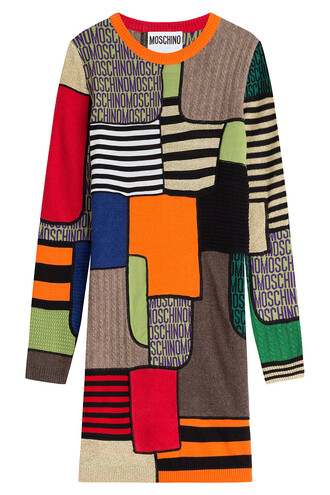 dress colorblock wool multicolor