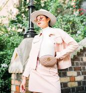olivia lazuardy,blogger,hat,top,skirt,bag,shoes,belt bag,gucci bag,pink jacket,pink skirt,spring outfits