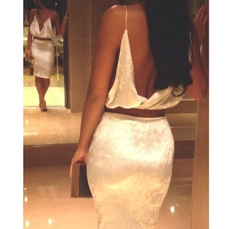 crop tops white skirt white dress tumblr outfit two-piece midi skirt pear white midi two-piece suede silk