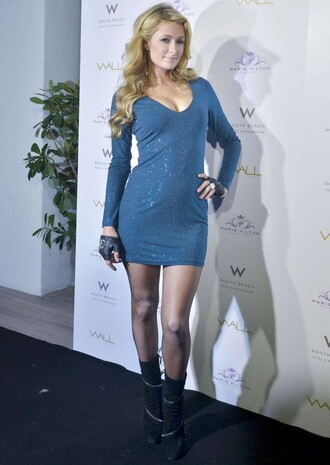 dress sequin dress sequins paris hilton blue dress boots shoes