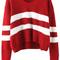 V neck striped wine red sweater -shein(sheinside)