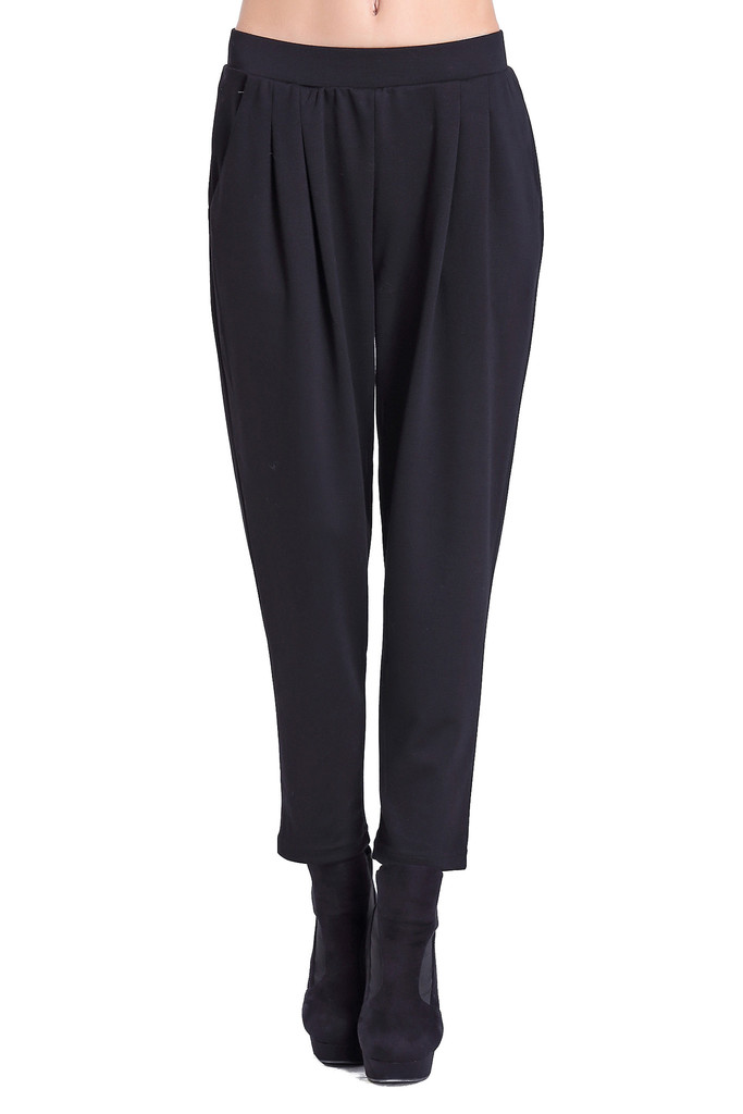 Black Pleat Comfortable Cotton Harem Pant | Simple Fashion Designs | Trendy Contemporary Clothing | J.SIMPLE