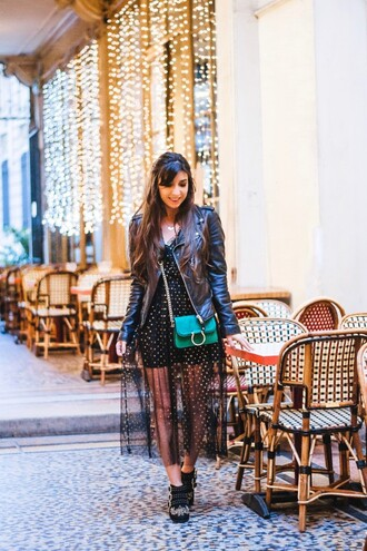 marie luv pink blogger shoes green bag bag black leather jacket booties midi dress winter outfits