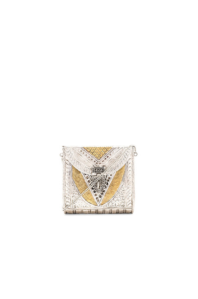 From St Xavier clutch metallic silver bag