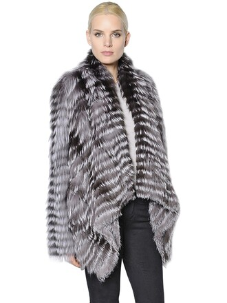 jacket fur jacket fur fox draped white brown