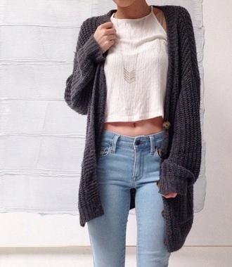 cardigan jeans halter top grey sweater
