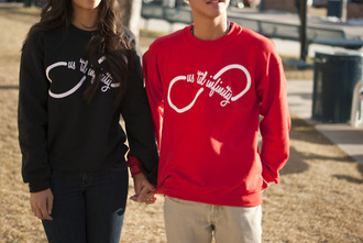 red sweater black sweater sweater infinity clothes jacket hoodie sweatshirt couple couples shirt couples jacket couple sweaters infinty