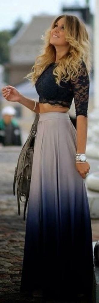 skirt ombre blue skirt blouse dress