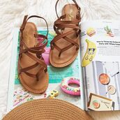 shoes,sandals,summer,spring,tan,cute,strappy,straps,flats,love,spring oufit,summer outfits,affordable,fashion,bellexo