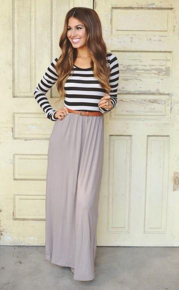 striped dress long sleeve dress maxi dress black and white mocha