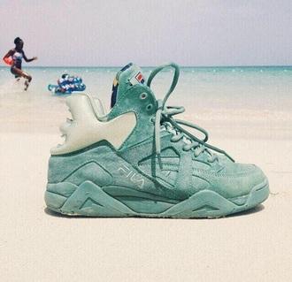 shoes fila suede sneakers suede high top sneakers pastel sneakers pastel pastel green