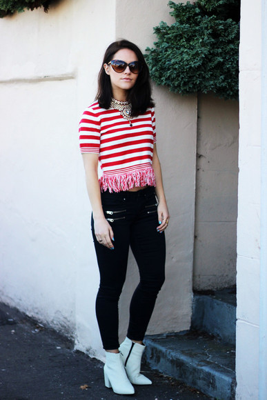 stripes blogger jeans shoes jewels the little magpie sunglasses statement necklace white boots